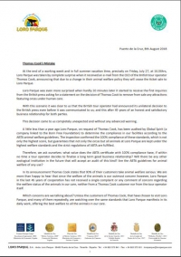 A formal letter from the President of Loro Parque, Mr. Wolfgang Kiessling, to Thomas Cook's CEO, Mr. Peter Fankhauser